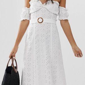 Asos Bardot maxi dress Broderie sundress with belt